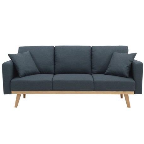 sofá serena tela gris /  patas natural (3 cuerpos)
