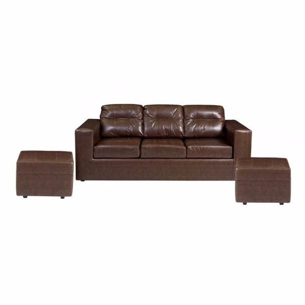 sofá sevilla 3 cuerpos + 2 puf - moro