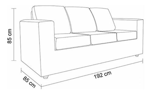 sofá sevilla 3 cuerpos - cuero pu negro