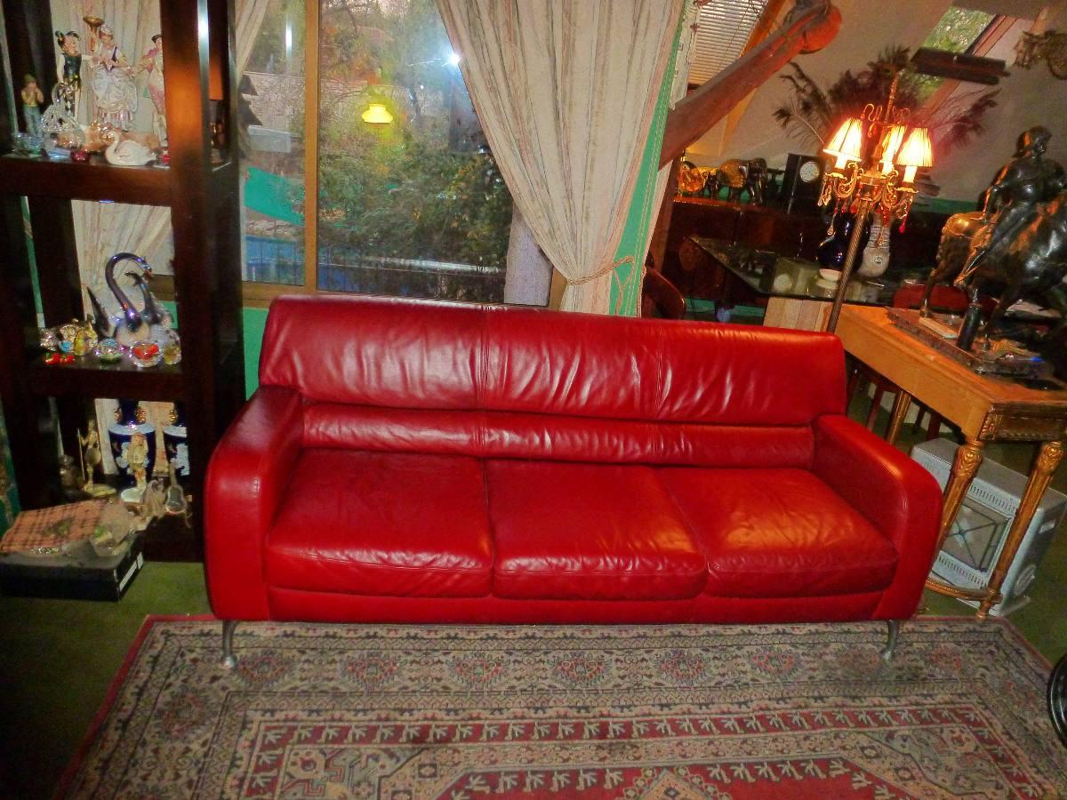 Sofa sillon 100 cuero rojo italiano natuzzi patas for Sofas de cuero natuzzi