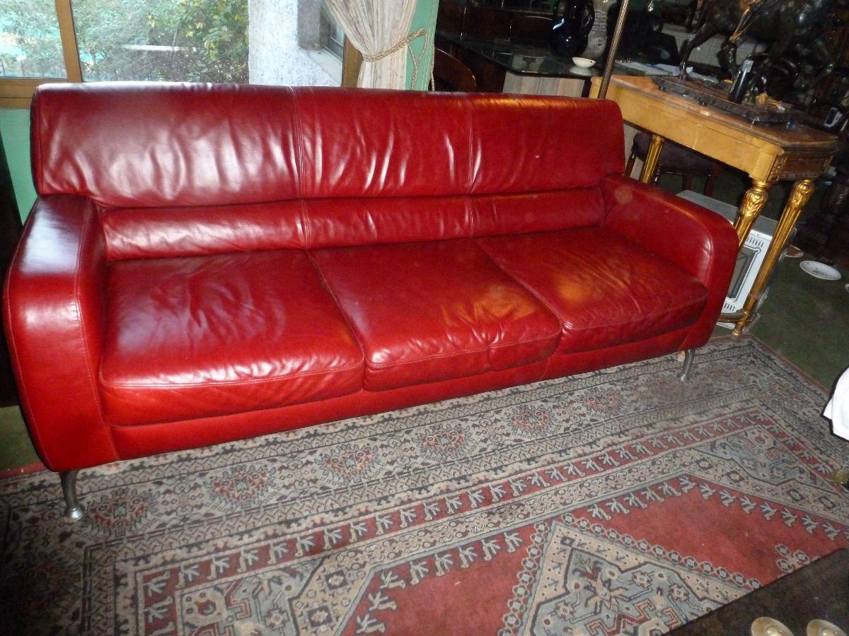 Sofa sillon 100 cuero rojo italiano natuzzi patas - Precio sofas natuzzi ...