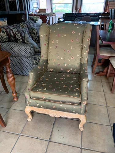 sofá sillón butaca individual antiguo en madera y seda