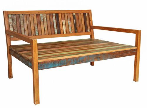 sofá surubão 1,60 x 1,05 madeira demolição maciça sem futon