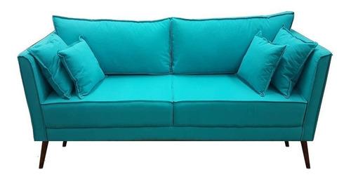 sofá suzi 3 lugares pé palito 4 almofada macio eco linho