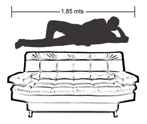 sofacama carvallo 3 posiciones clic clac tipo cuero negro