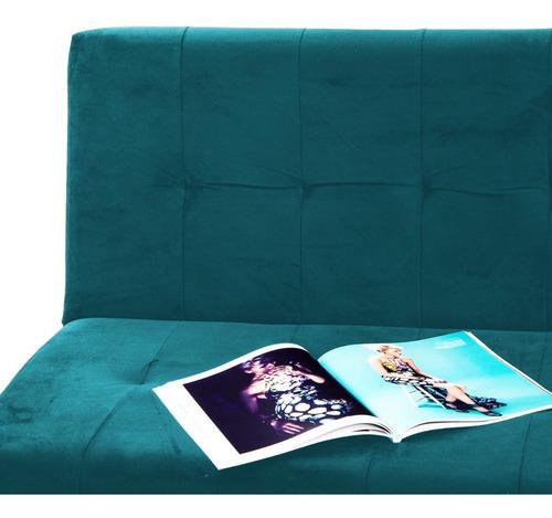 sofacama dual tela azul