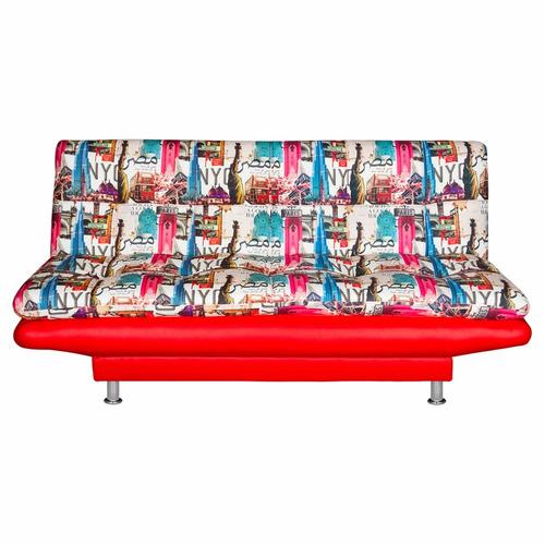 sofacama lafrance base roja colchoneta tela vintage