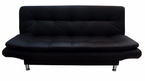 sofacama olimpus negro | costuras blancas