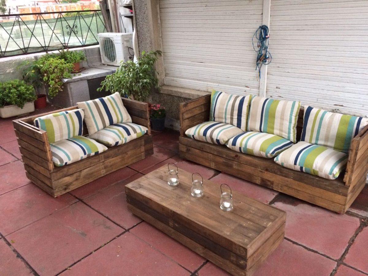 Sof s esquineros r sticos en mercado libre for Fabricacion de muebles de palets de madera