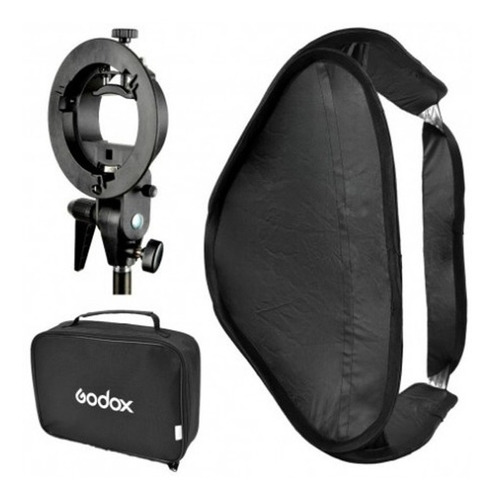 soft box plegable/colapsable marca godox 40x40 cm  p/flash de zapata con rótula stype y bolso para transporte