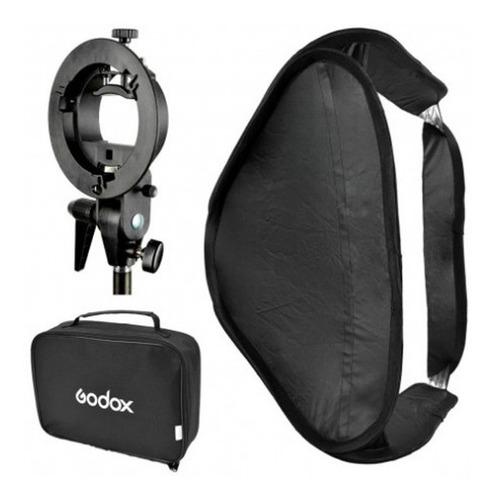 soft box plegable/colapsable marca godox 80x80 cm p/flash de zapata con rótula stype y bolso para transporte