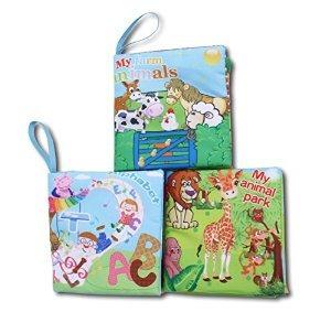 soft libros de tela para bebés conjunto de 3 -bright color d