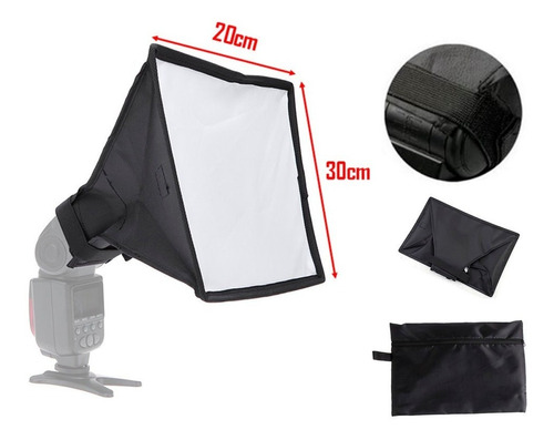 softbox caja de luz difusor 20x30 para flash speedlite + est