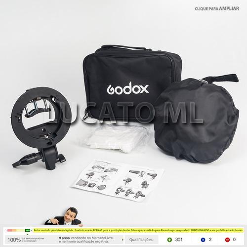 softbox godox 50x50 + suporte flash s-type 12x s/juros npfg