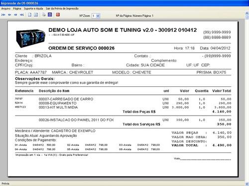 software auto som e tuning com serviços e financeiro v2.0