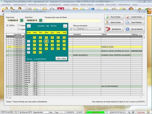 software clinica de estética spa + atendimento 2.0 fpqsystem
