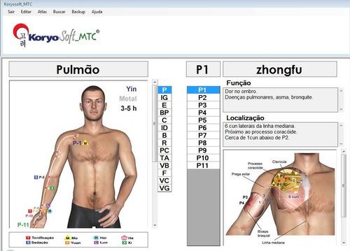 software de acupuntura - atlas em 3d combinação de pontos