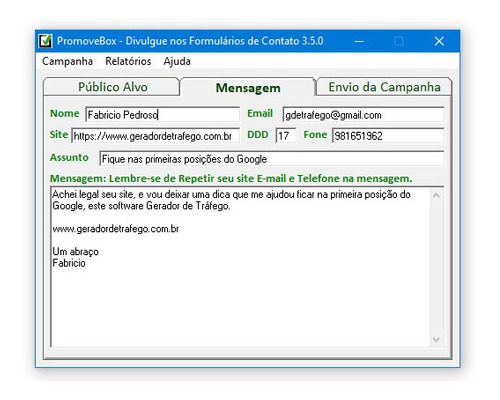 software de divulgação em massa nos formulários de contato