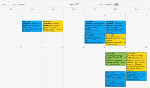 software de gestion rubro eventos - peloteros - animadores