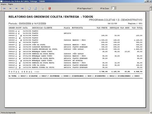 software ordem de coleta e entrega com clientes v1.0