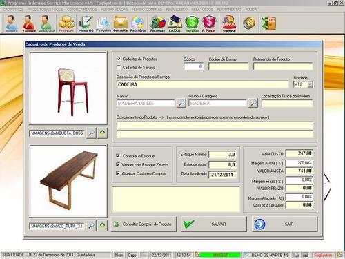 software ordem de serviço marcenaria vendas e financeiro 4.9