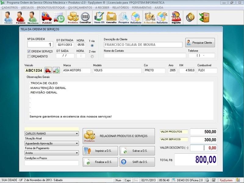 Software ordem de servi o oficina mec nica e produtos v2 0 for Programa para disenar oficinas