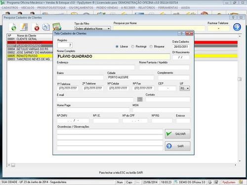 software ordem de serviço para oficina mecânica vendas v3.0