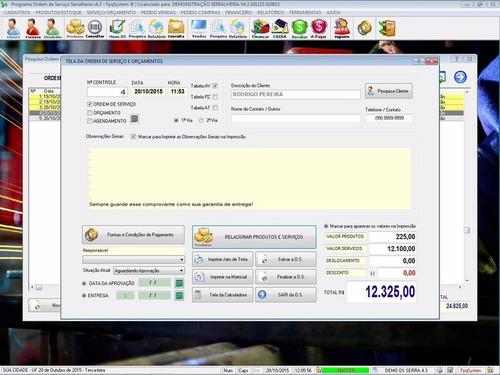 software ordem de serviço serralheria, vendas financeiro 4.3