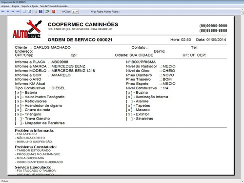 software os oficina para caminhão com check list  v5.2 plus