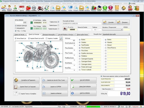 software os oficina para moto + check list v5.1 - fpqsystem