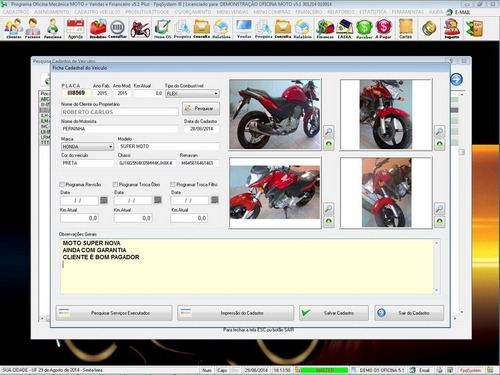 software os oficina para moto com check list +foto v5.1 plus