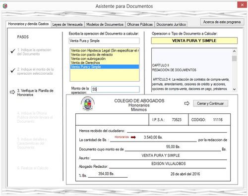 software para abogado, calculo de honorarios mínimos y otros