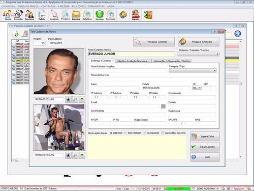 software para academia com controle de contratos v1.0