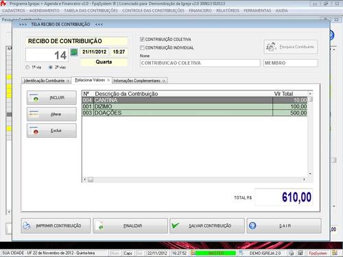 software para administrar igrejas com agenda financeiro v2.0