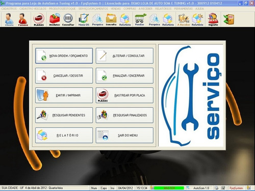 software para auto som, tuning e acessórios automotivo v1.0