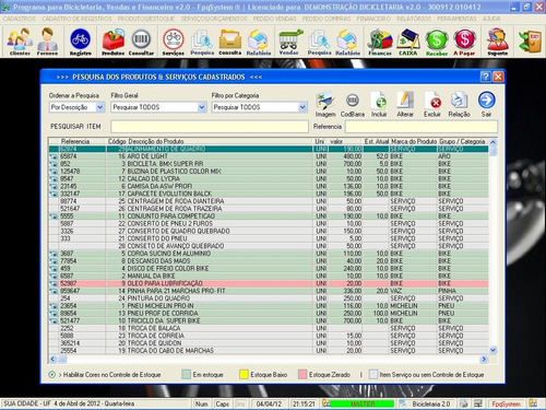 software para bicicletária venda e financeiro v2.0 fpqsystem