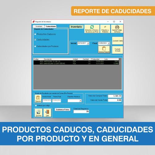 software para farmacia antibióticos, controlados lt y cad.