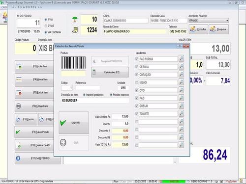 software para gourmet bares e restaurantes pdv 1.0 fpqsystem