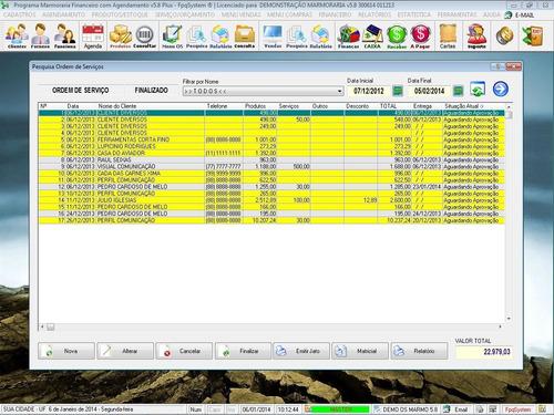 software para marmoraria + venda + financeiro v5.8 fpqsystem
