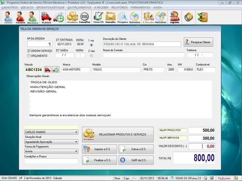 software para oficina mecânica, os tabela de produtos v2.0