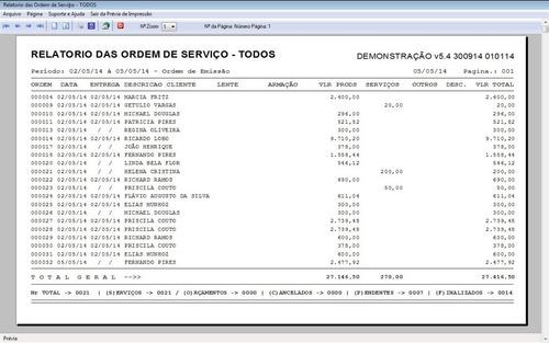 software para ótica e relojoalheria vendas + financeiro v5.4