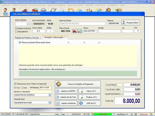 software para serviço autoelétrica automotiva v1.0 fpqsystem