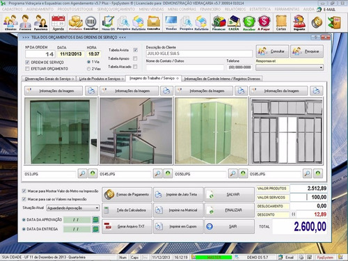 software para vidraçarias e esquadrias + serviços v5.7 plus