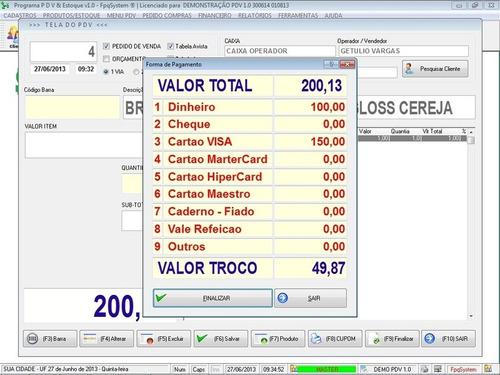 software pdv frente de caixa, estoque e financeiro v1.0