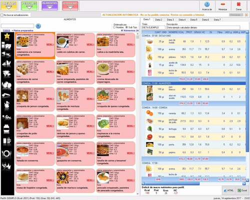 software programa nutrición - calculadora dietética