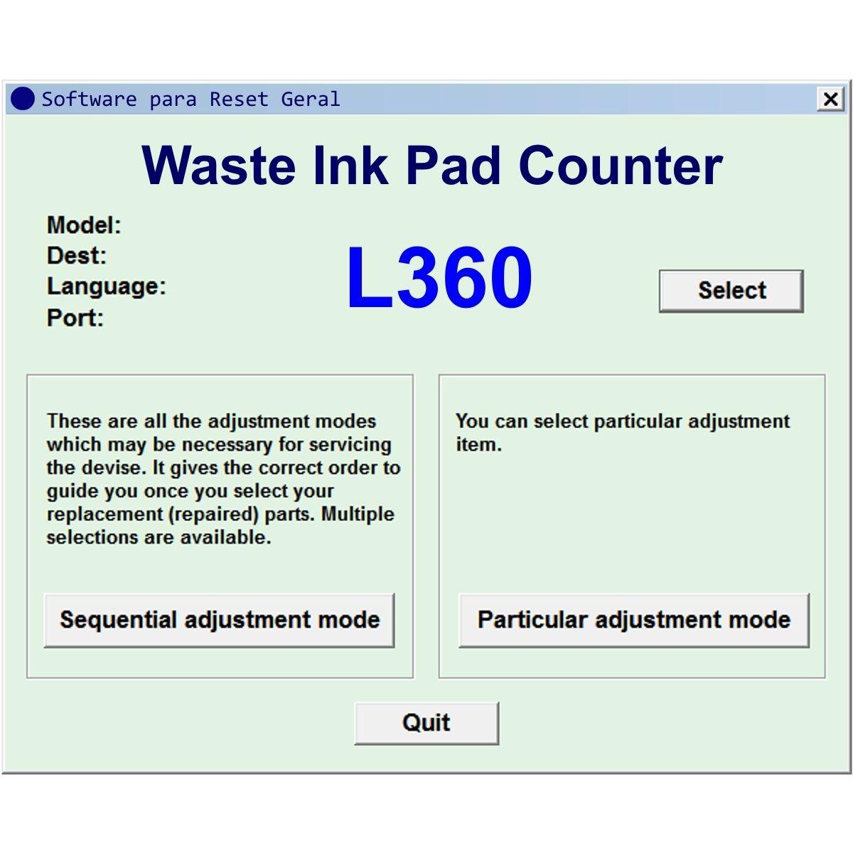 Software Reset Geral Para Epson L360