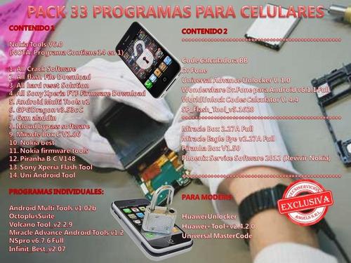 software teléfono celulares + modems 33 programas 100% tsa