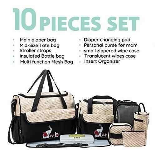 soho pañalera bolso diaper bag black elephant 10 pcs negra
