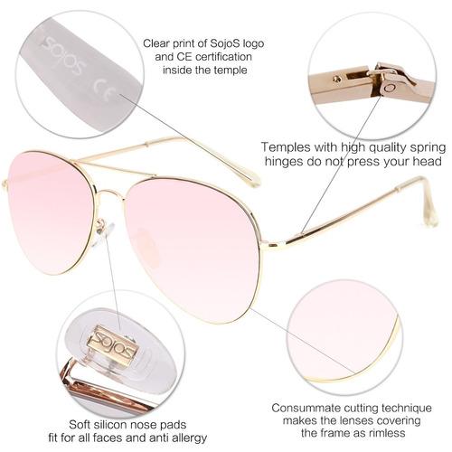 sojos classic aviator mirrored flat lens gafas de sol metal