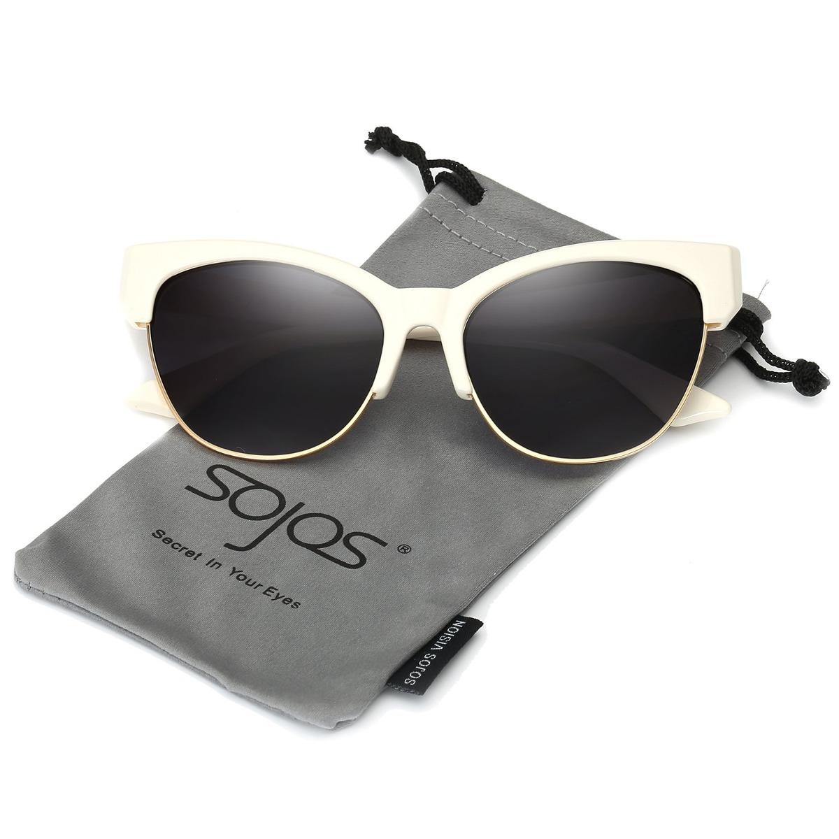 Sojos Gafas De Sol Mujer Clásico Ojo De Gato Con Marco Mitad ... 923215c51348